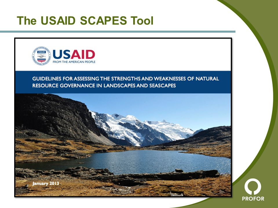 Developed by Wildlife Conservation Society for USAID Designed to work on landscape level, looking at natural resource management generally Based on its own framework for analyzing governance, around pillars of Legitimacy, Capacity, and Power A workshop, bringing together representatives of stakeholders or other key informants or experts, identifies key groups and their influence, strengths, and weaknesses Full how-to guide available on frameweb.org