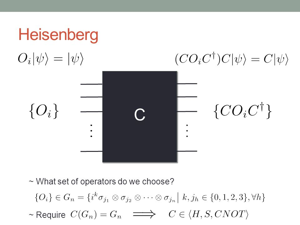 Heisenberg C ~ What set of operators do we choose ~ Require