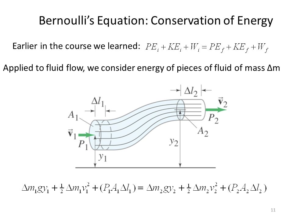 11 Bernoulli's Equation: Conservation of Energy Earlier in the course we learned: Applied to fluid flow, we consider energy of pieces of fluid of mass Δm