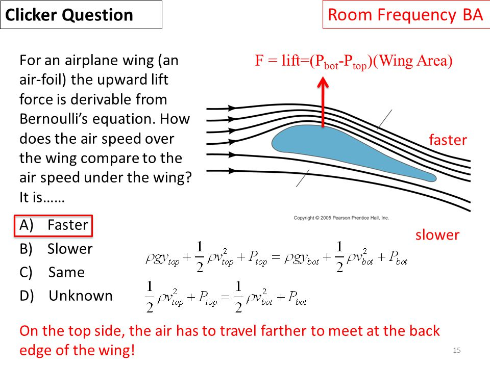 15 For an airplane wing (an air-foil) the upward lift force is derivable from Bernoulli's equation.