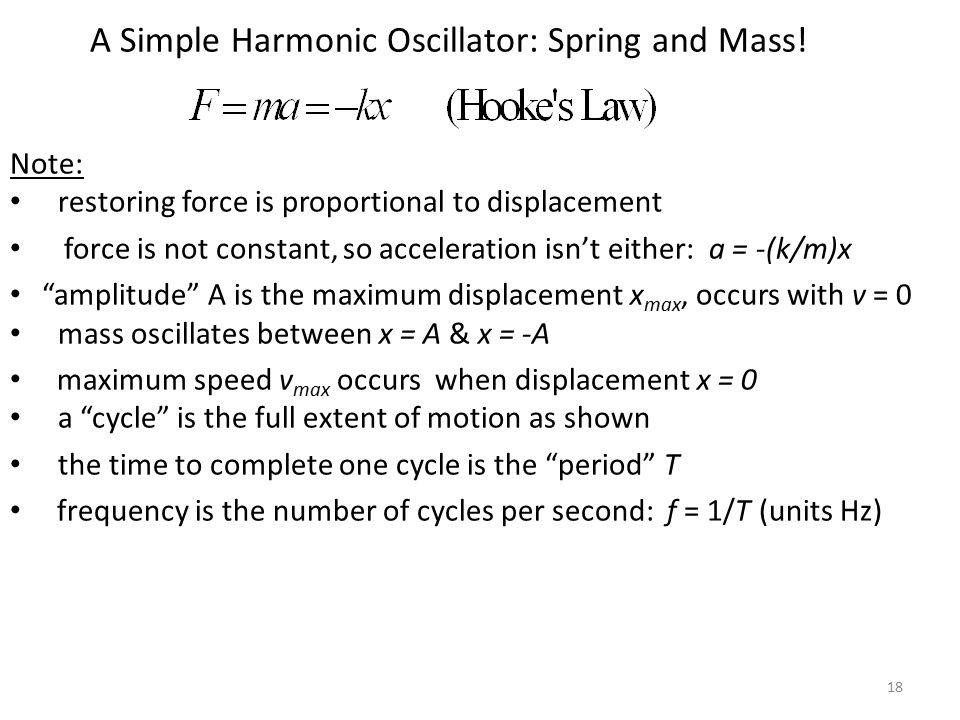 18 A Simple Harmonic Oscillator: Spring and Mass.