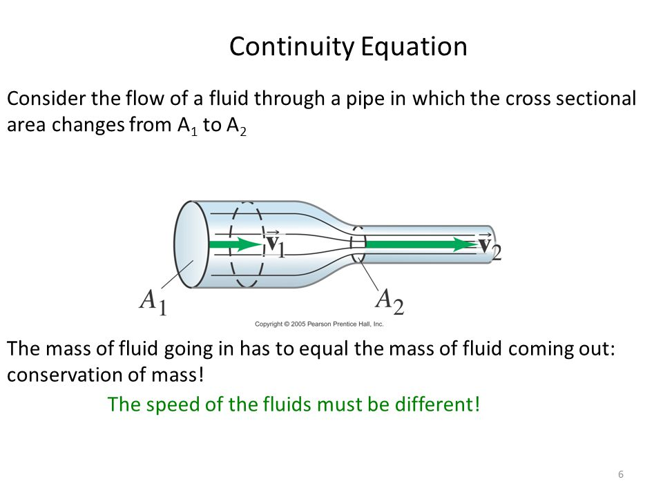 6 Continuity Equation Consider the flow of a fluid through a pipe in which the cross sectional area changes from A 1 to A 2 The mass of fluid going in has to equal the mass of fluid coming out: conservation of mass.