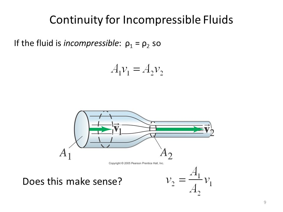 9 Continuity for Incompressible Fluids If the fluid is incompressible: ρ 1 = ρ 2 so Does this make sense?