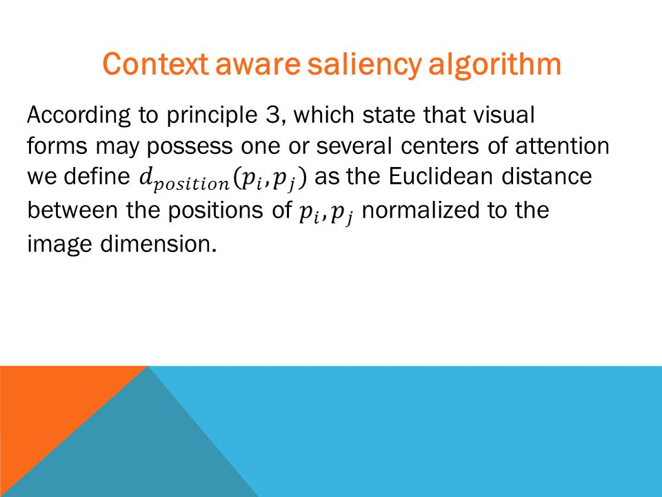Context aware saliency algorithm