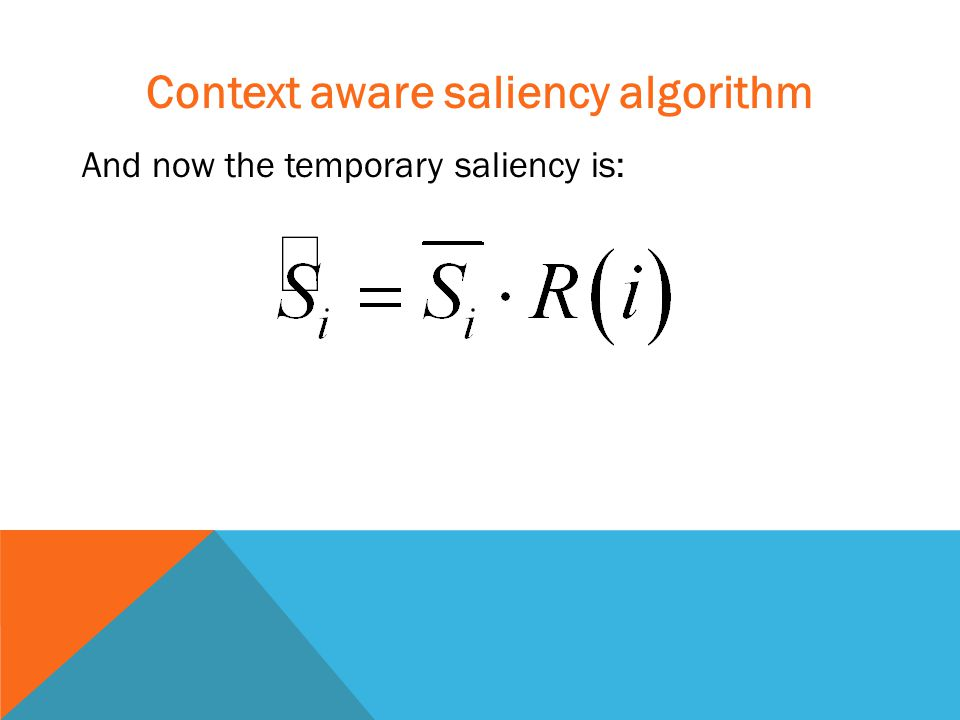 Context aware saliency algorithm And now the temporary saliency is: