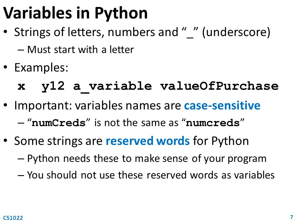 Conditional statement (2) 18 CS1022 # absolute value n = int(argv[1]) if n < 0: abs = -n else: abs = n print(abs) Python {Absolute value of input} begin 1.
