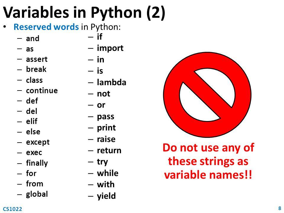 For loop 19 CS1022 Algorithmic notation for var in range(init_val,final_val): statement Python for var := init_val to final_val do statement