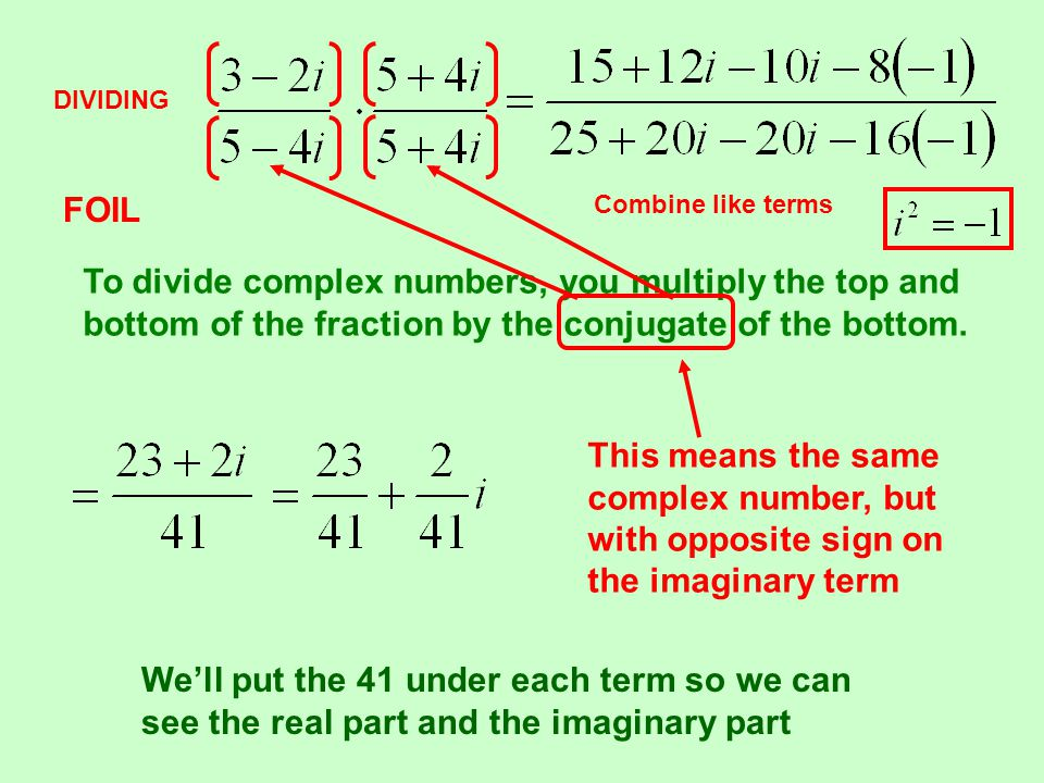 DIVIDING To divide complex numbers, you multiply the top and bottom of the fraction by the conjugate of the bottom.