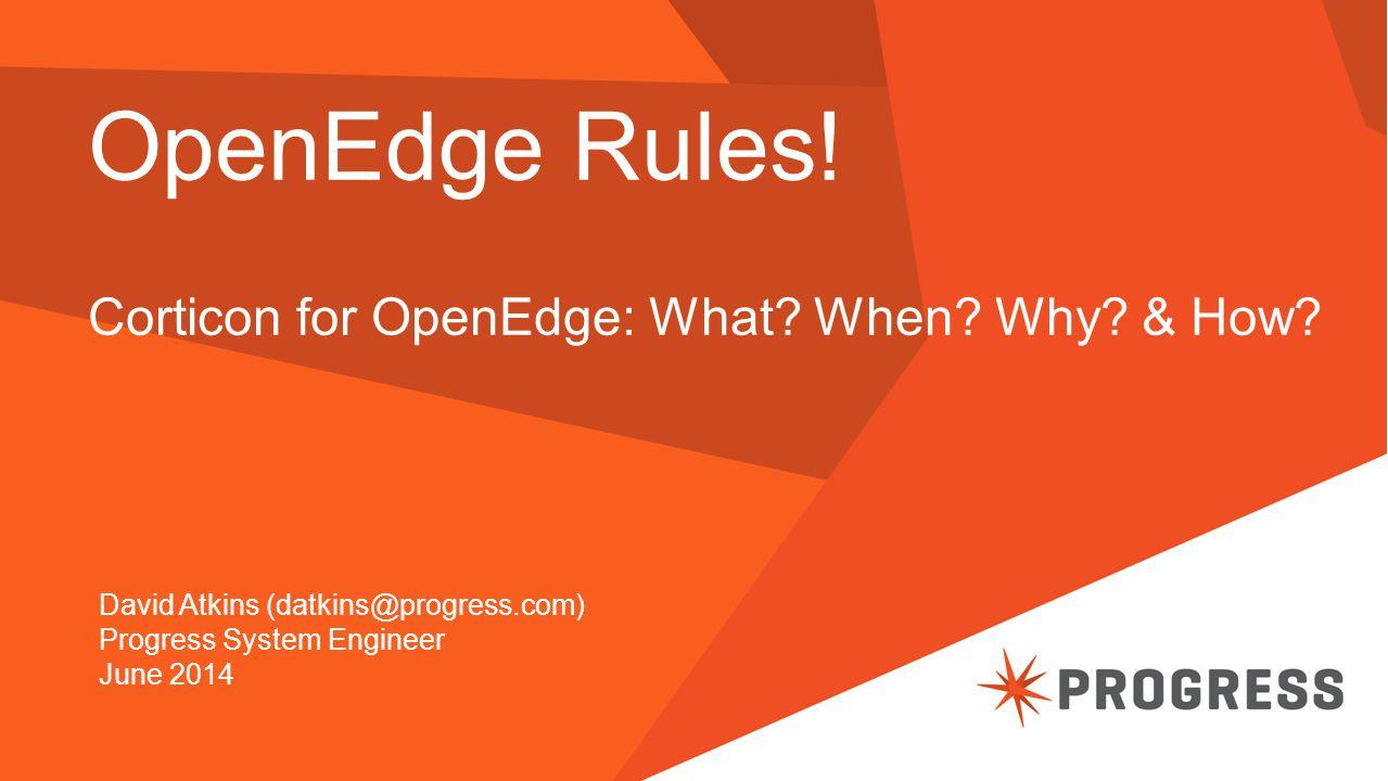 OpenEdge Rules. Corticon for OpenEdge: What. When.