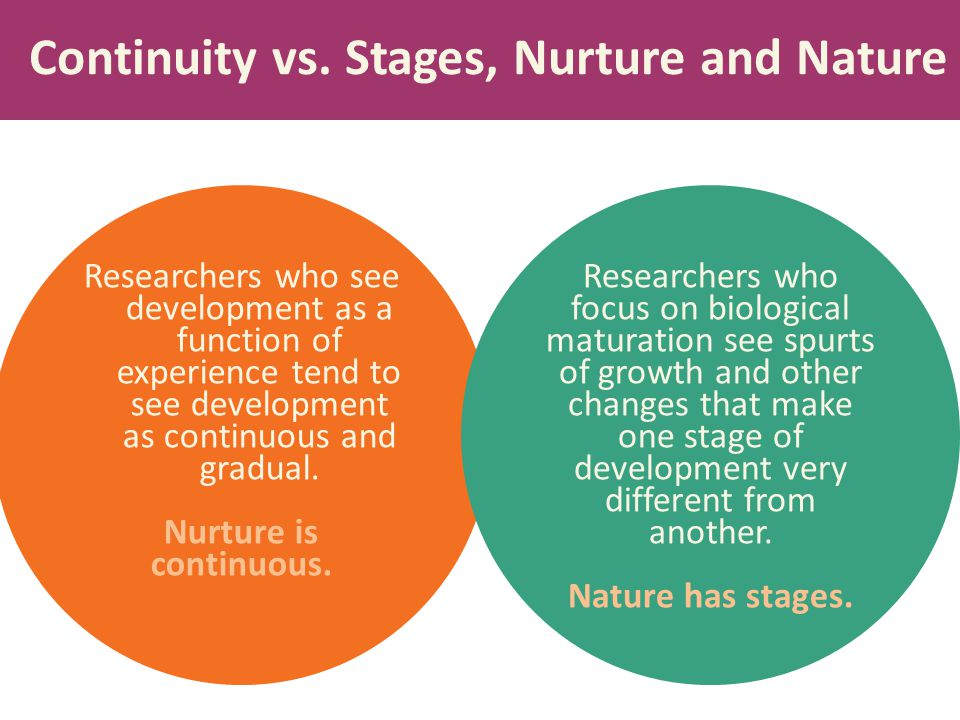 Continuity vs. Stages, Nurture and Nature Researchers who see development as a function of experience tend to see development as continuous and gradua