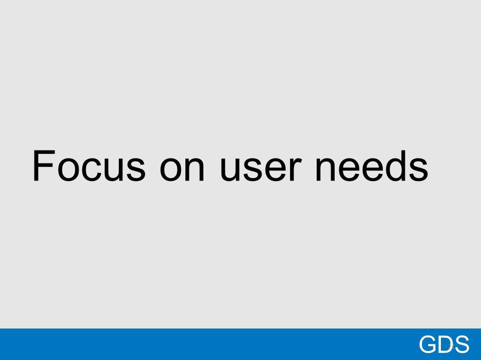 21 Focus on user needs GDS