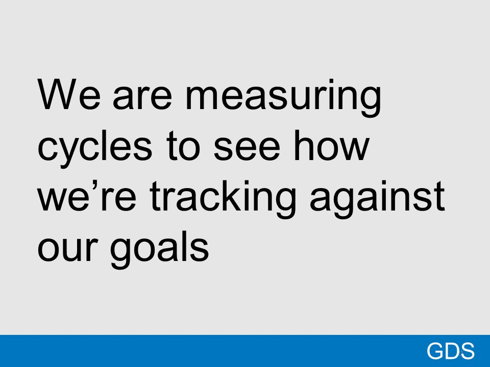 21 We are measuring cycles to see how we're tracking against our goals GDS