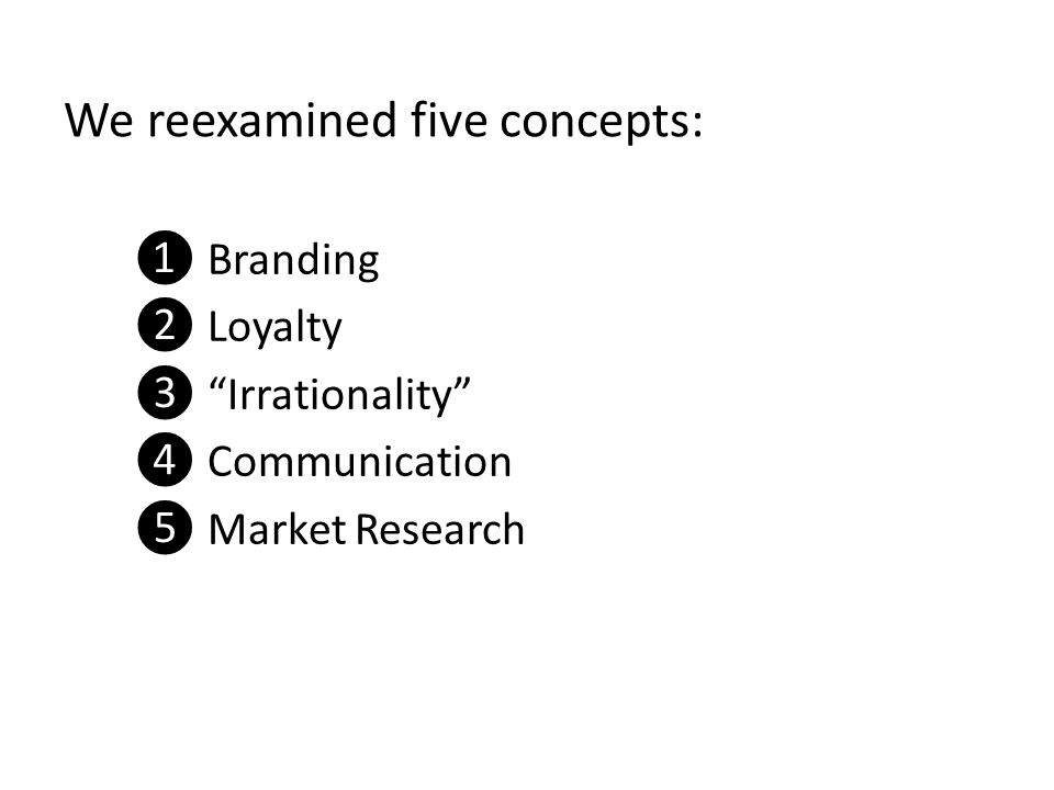 We reexamined five concepts: ❶ Branding ❷ Loyalty ❸ Irrationality ❹ Communication ❺ Market Research