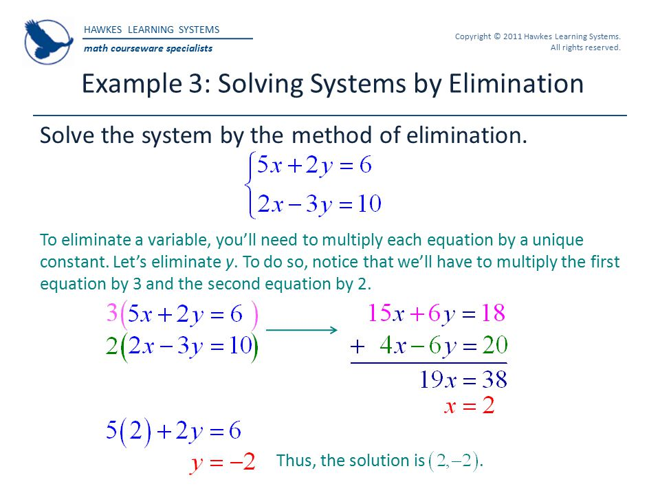 HAWKES LEARNING SYSTEMS math courseware specialists Copyright © 2011 Hawkes Learning Systems. All rights reserved. Example 3: Solving Systems by Elimi