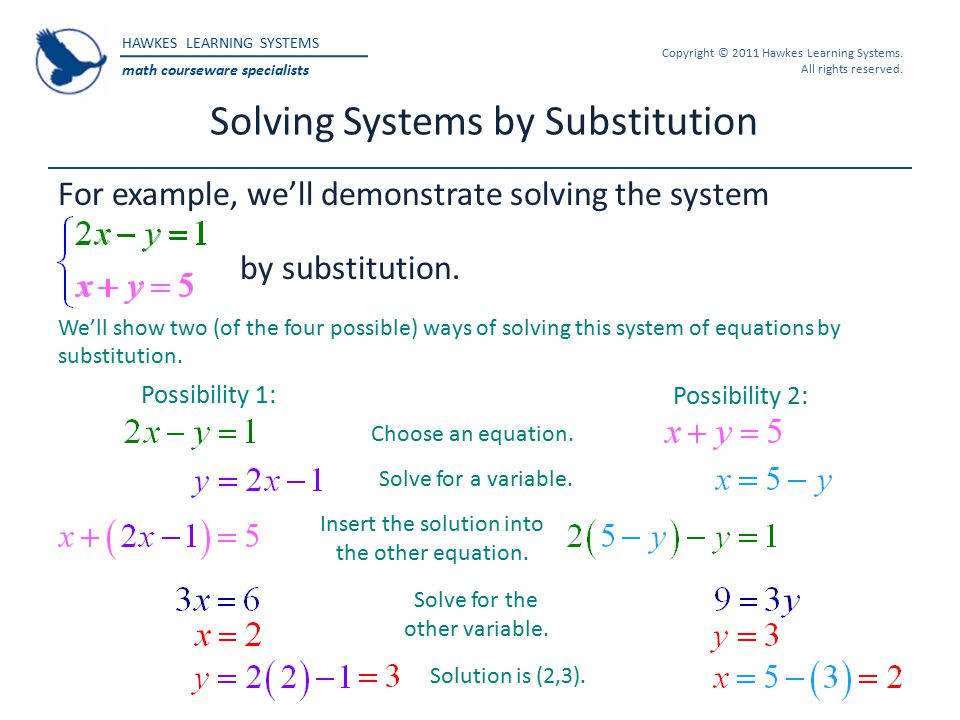 HAWKES LEARNING SYSTEMS math courseware specialists Copyright © 2011 Hawkes Learning Systems. All rights reserved. Solving Systems by Substitution For