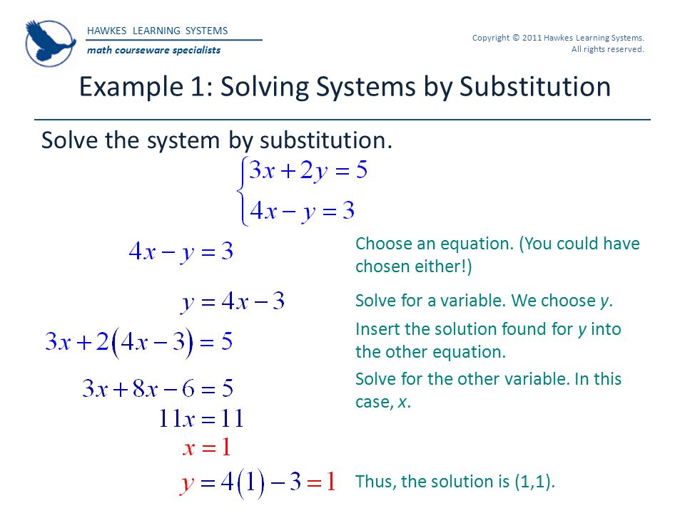 HAWKES LEARNING SYSTEMS math courseware specialists Copyright © 2011 Hawkes Learning Systems. All rights reserved. Example 1: Solving Systems by Subst