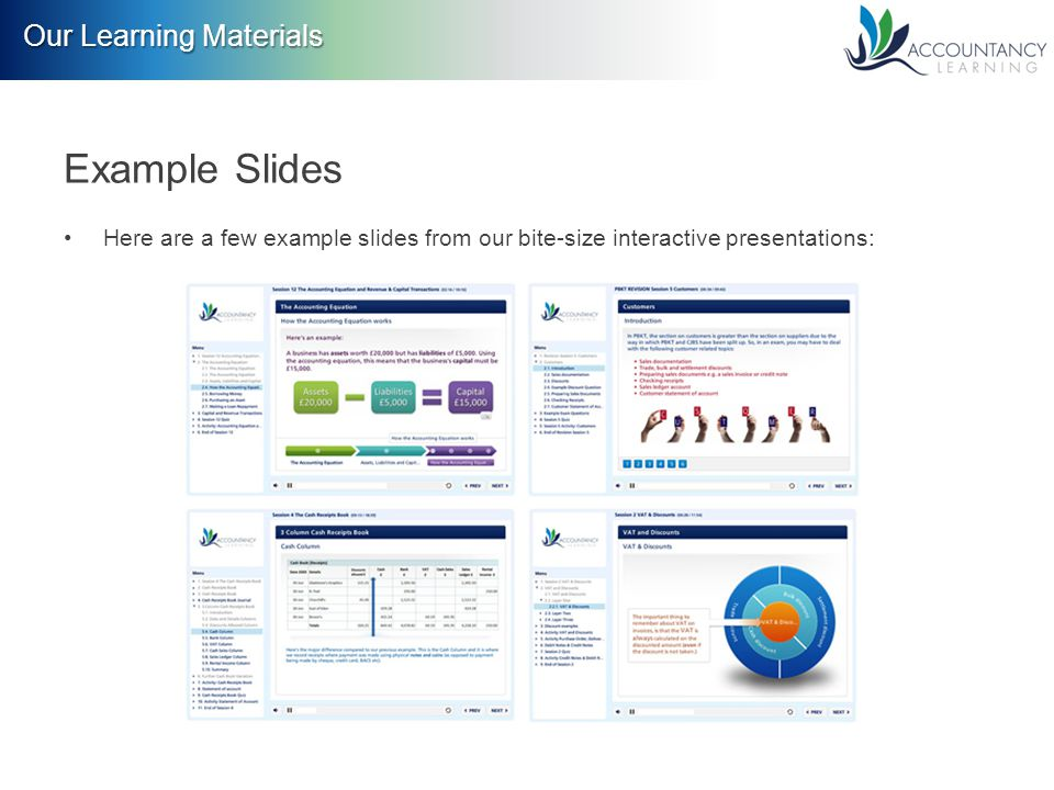 Our Learning Materials Example Slides Here are a few example slides from our bite-size interactive presentations: