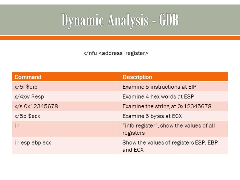 CommandDescription x/5i $eipExamine 5 instructions at EIP x/4xw $espExamine 4 hex words at ESP x/s 0x12345678Examine the string at 0x12345678 x/5b $ecxExamine 5 bytes at ECX i r info register , show the values of all registers i r esp ebp ecxShow the values of registers ESP, EBP, and ECX x/nfu