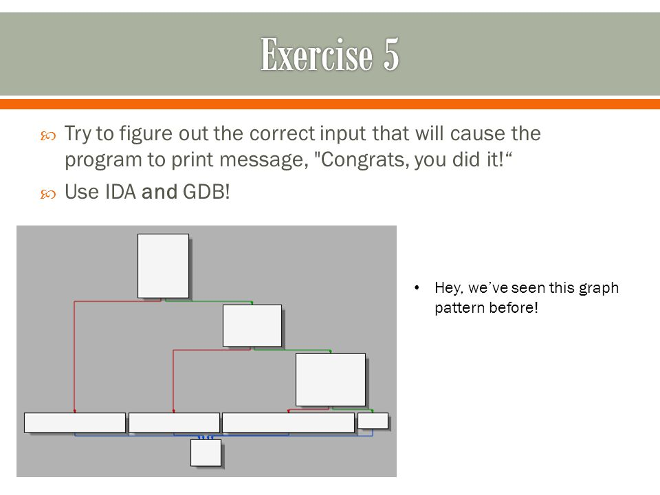  Try to figure out the correct input that will cause the program to print message, Congrats, you did it!  Use IDA and GDB.