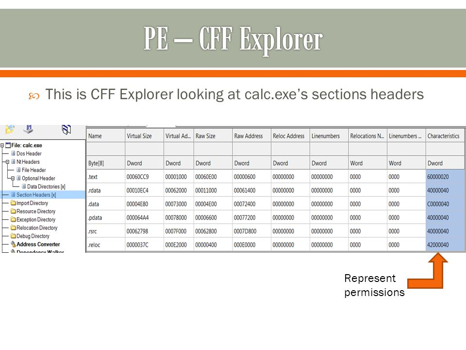  This is CFF Explorer looking at calc.exe's sections headers Represent permissions