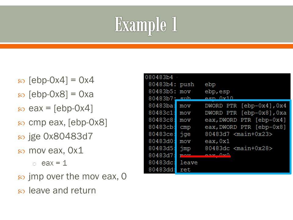  [ebp-0x4] = 0x4  [ebp-0x8] = 0xa  eax = [ebp-0x4]  cmp eax, [ebp-0x8]  jge 0x80483d7  mov eax, 0x1 o eax = 1  jmp over the mov eax, 0  leave and return