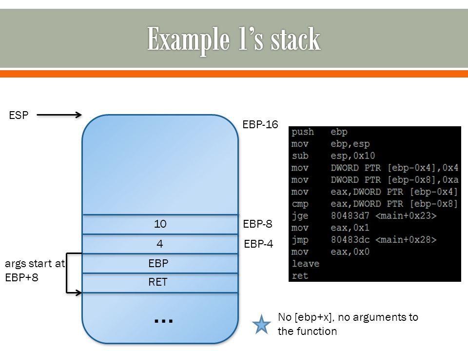 … RET EBP ESP EBP-4 EBP-8 4 10 No [ebp+x], no arguments to the function EBP-16 args start at EBP+8