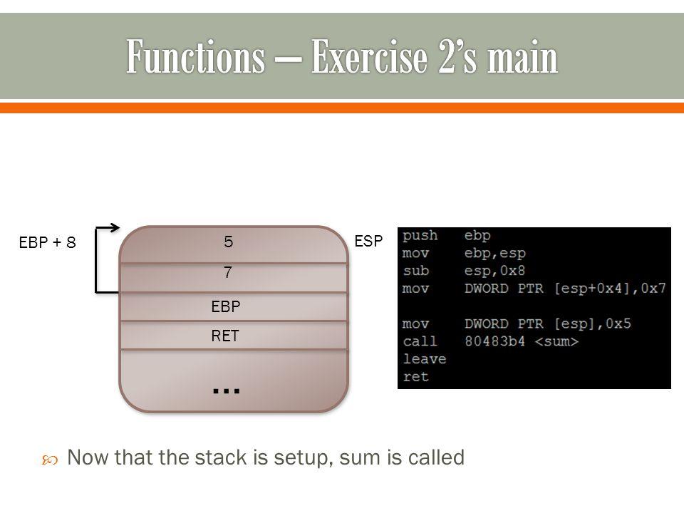 … RET EBP 7 5 ESP EBP + 8  Now that the stack is setup, sum is called