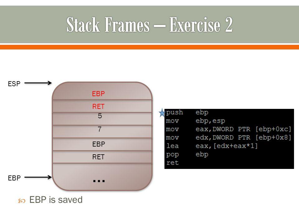 … RET EBP 7 5  EBP is saved RET EBP ESP EBP