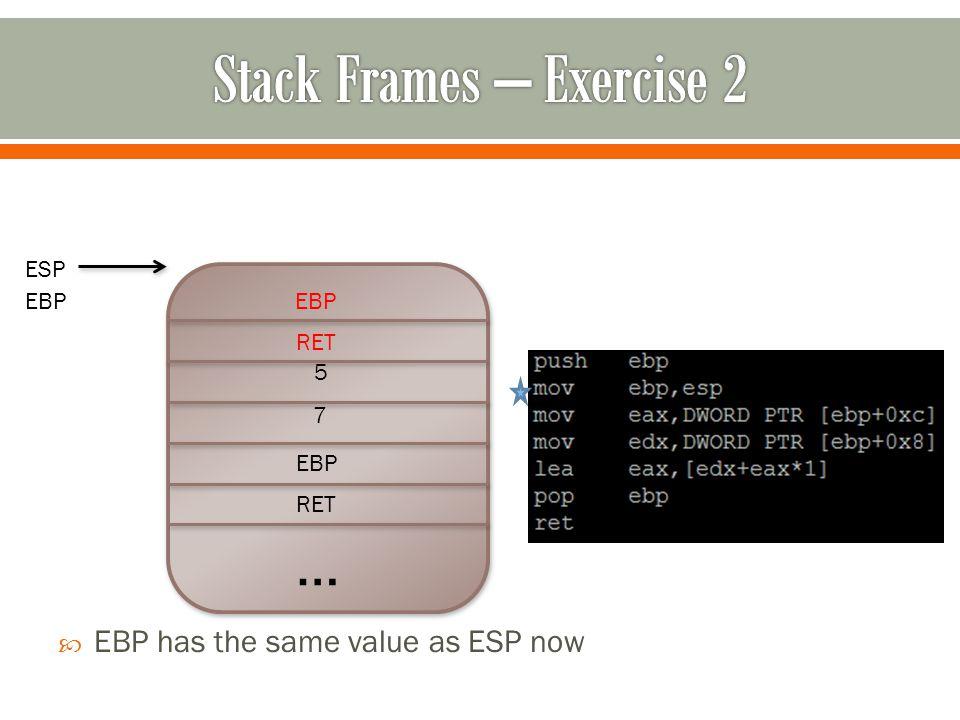 … RET EBP 7 5  EBP has the same value as ESP now RET EBP ESP EBP