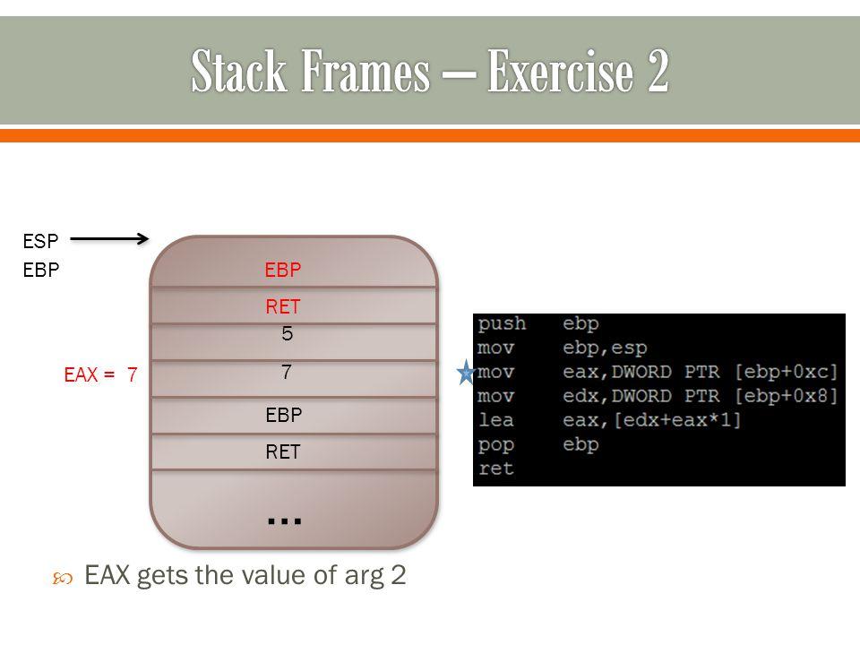 … RET EBP 7 5  EAX gets the value of arg 2 RET EBP ESP EBP EAX = 7