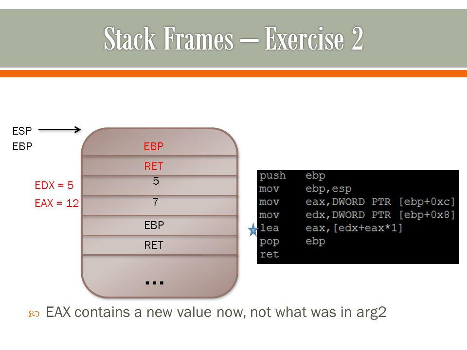 … RET EBP 7 5  EAX contains a new value now, not what was in arg2 RET EBP ESP EBP EAX = 12 EDX = 5