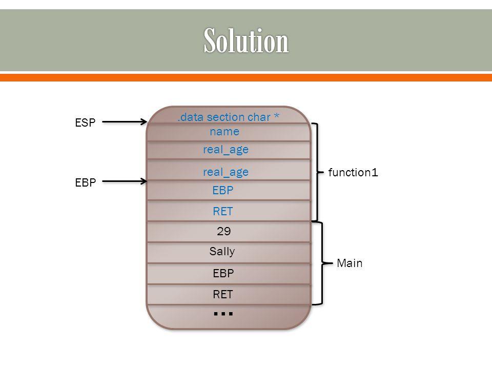 … RET EBP Sally 29 RET EBP real_age name Main function1 ESP EBP.data section char *