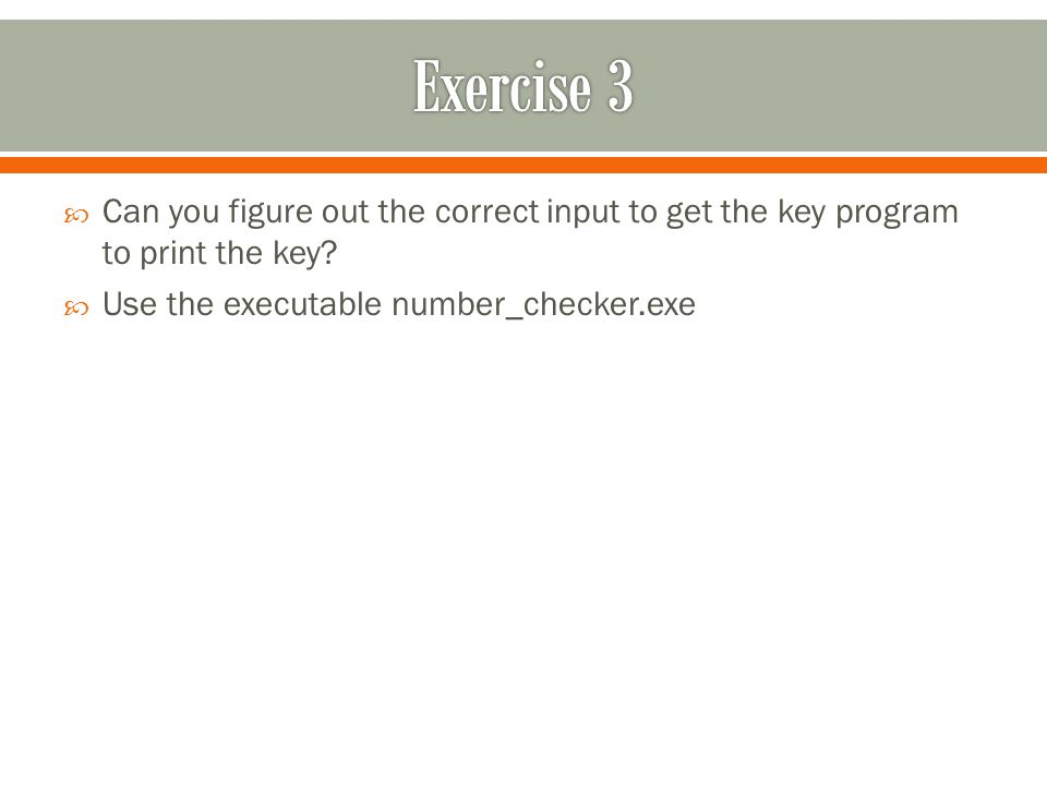  Can you figure out the correct input to get the key program to print the key.