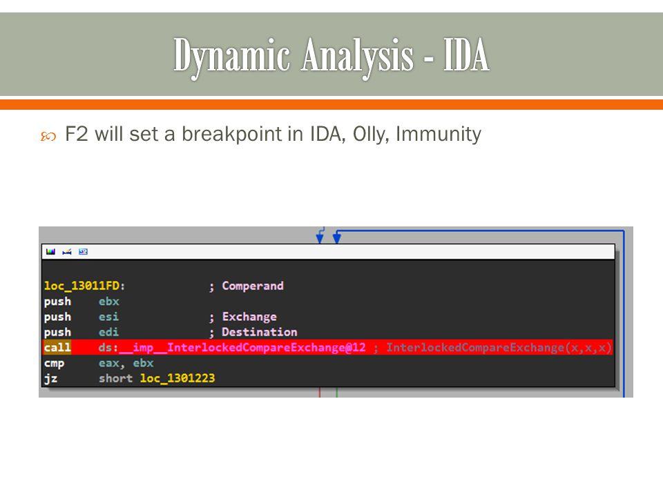 F2 will set a breakpoint in IDA, Olly, Immunity
