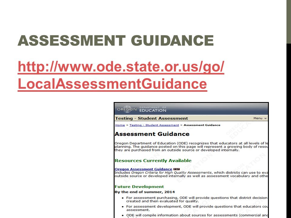 ASSESSMENT GUIDANCE REVIEW Page through the Assessment Guidance document and discuss it at your table.