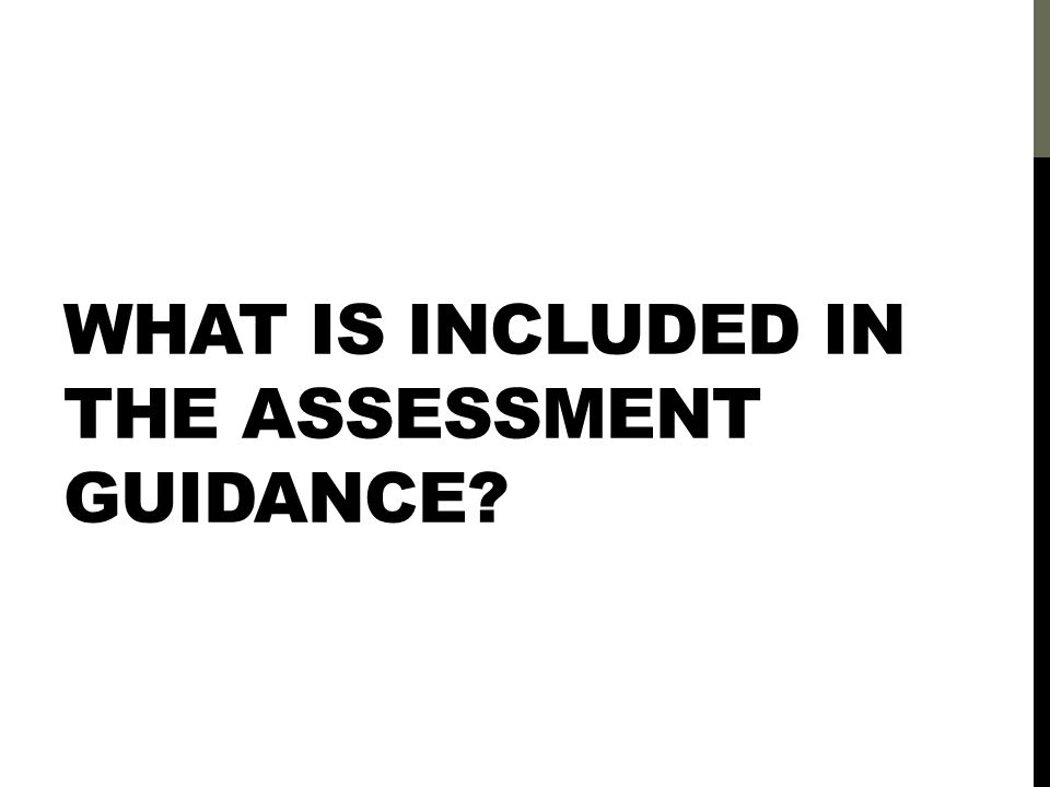 WHAT IS INCLUDED IN THE ASSESSMENT GUIDANCE