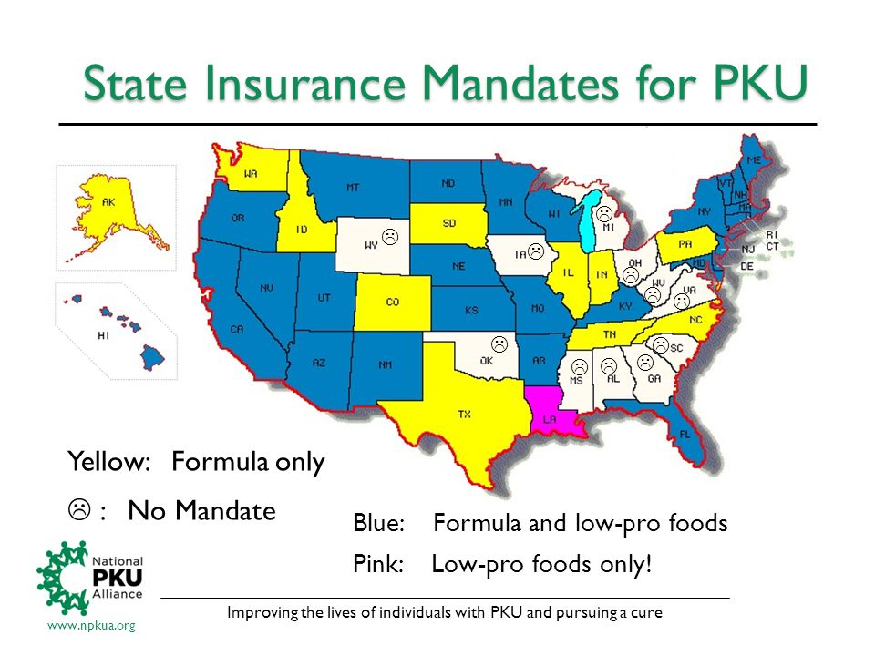 Improving the lives of individuals with PKU and pursuing a cure www.npkua.org State Insurance Mandates for PKU Blue: Formula and low-pro foods Pink: Low-pro foods only.