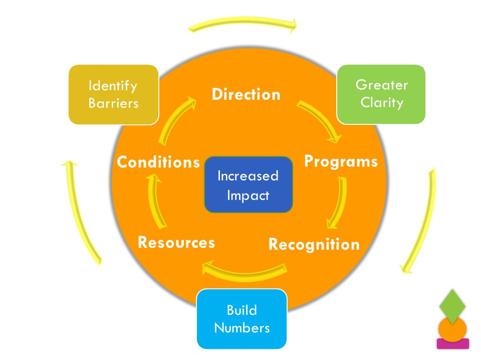 Direction Programs Recognition Resources Conditions Increased Impact Greater Clarity Identify Barriers Build Numbers Increased Impact