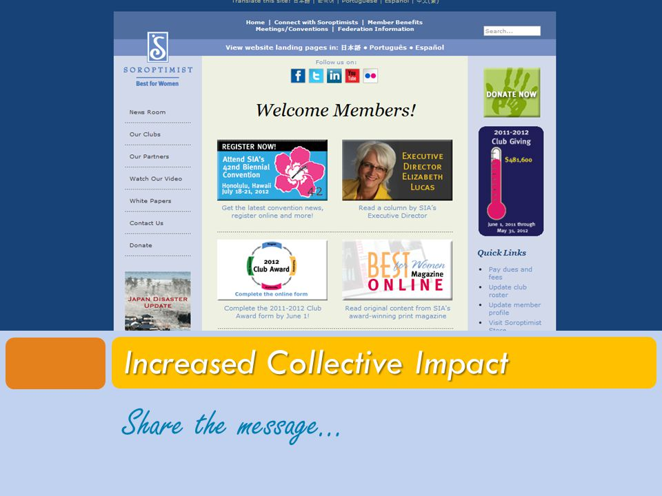 Share the message… Increased Collective Impact