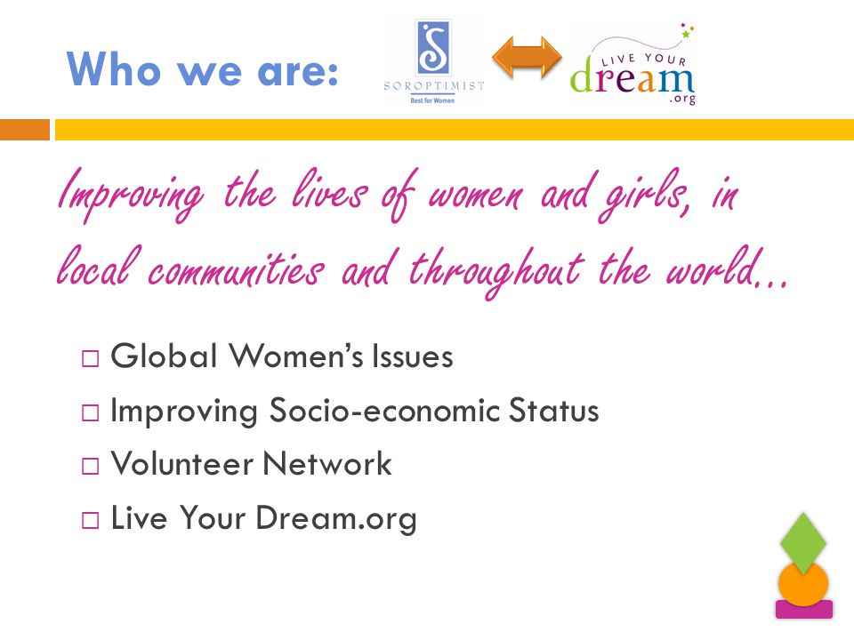Who we are:  Global Women's Issues  Improving Socio-economic Status  Volunteer Network  Live Your Dream.org Improving the lives of women and girls, in local communities and throughout the world…