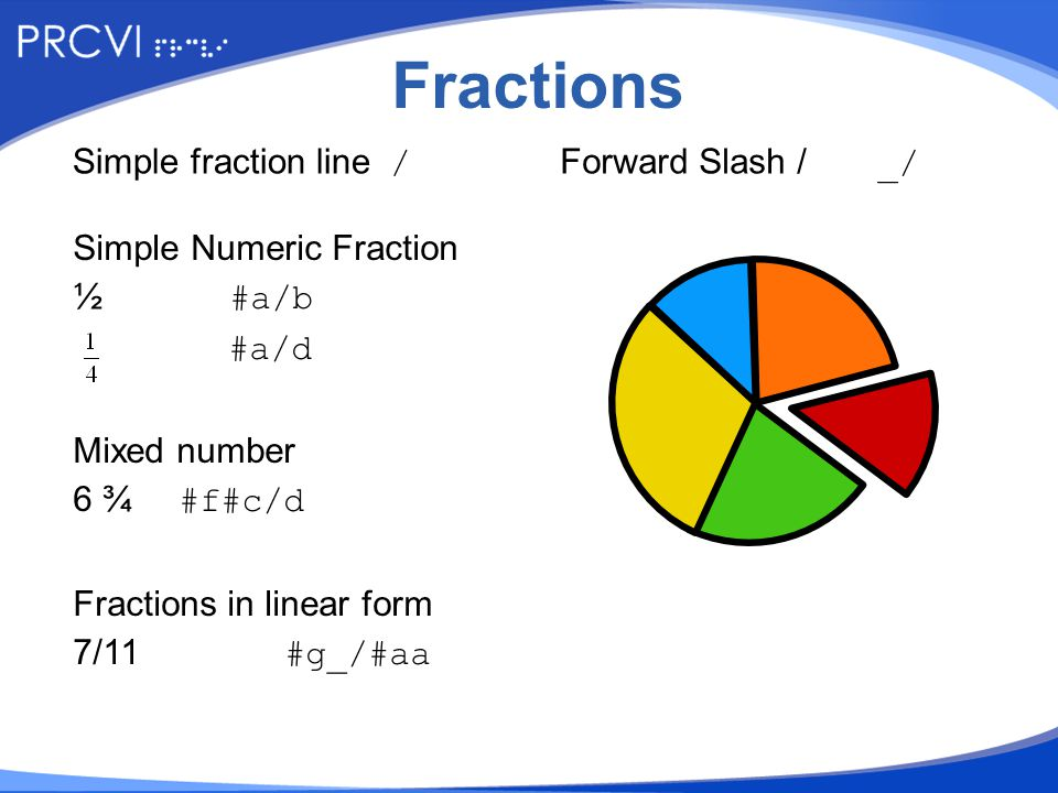 Fractions Simple Numeric Fraction ½ #a/b #a/d Mixed number 6 ¾ #f#c/d Fractions in linear form 7/11#g_/#aa Simple fraction line/Forward Slash /_/