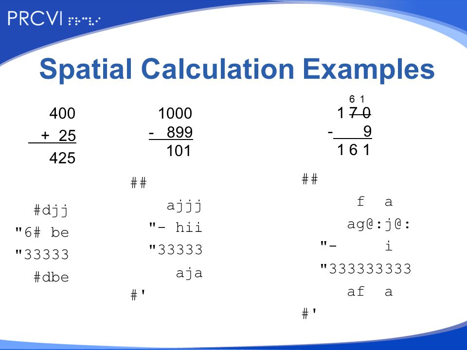 Spatial Calculation Examples 400 + 25 425 #djj 6# be 33333 #dbe 1000 - 899 101 ## ajjj - hii 33333 aja # 6 1 1 7 0 - 9 1 6 1 ## f a ag@:j@: - i 333333333 af a #