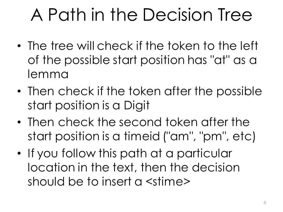 A Path in the Decision Tree The tree will check if the token to the left of the possible start position has