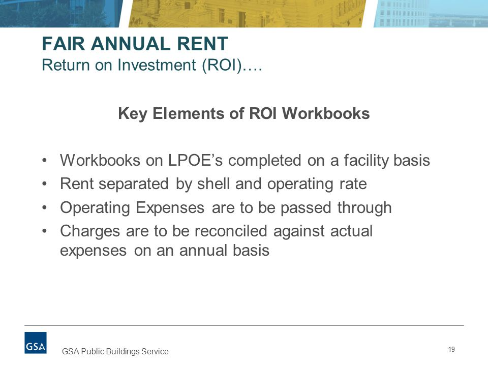 FAIR ANNUAL RENT Return on Investment (ROI)….
