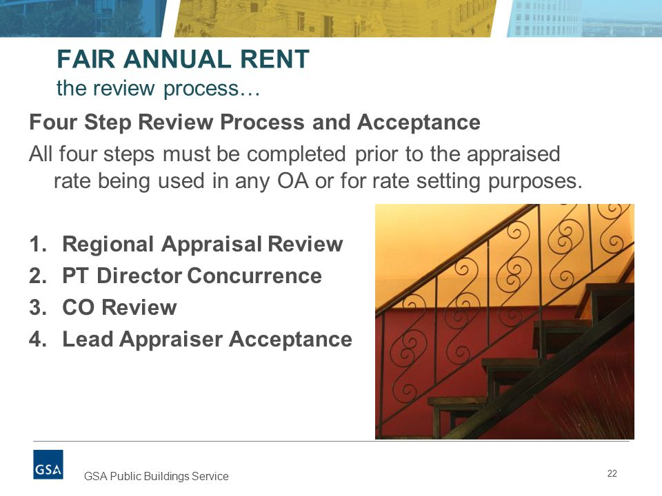 FAIR ANNUAL RENT the review process… Four Step Review Process and Acceptance All four steps must be completed prior to the appraised rate being used in any OA or for rate setting purposes.