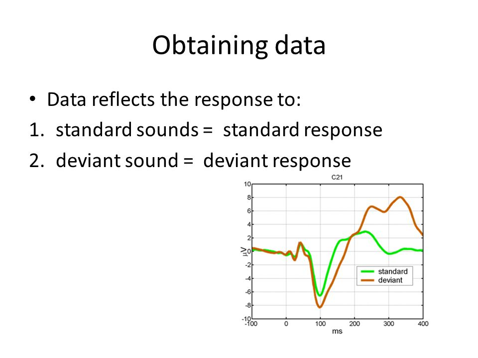 Obtaining data Data reflects the response to: 1.standard sounds = standard response 2.deviant sound = deviant response