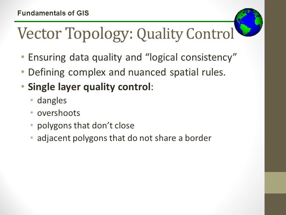 "Fundamentals of GIS Vector Topology: Quality Control Ensuring data quality and ""logical consistency"" Defining complex and nuanced spatial rules. Singl"