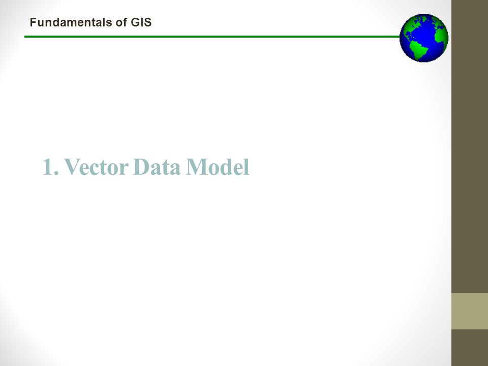 Fundamentals of GIS The Vector Data Model Three types of vector data 1.Points 2.Lines / Arcs 3.Polygons A given layer holds a single feature type (e.g.