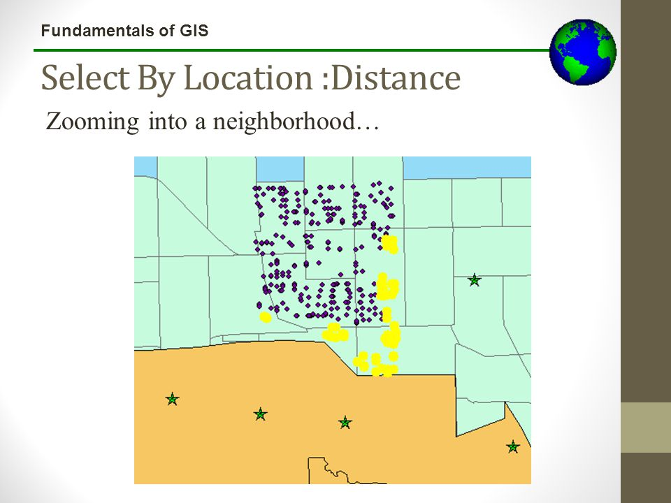 Fundamentals of GIS Select By Location :Distance Zooming into a neighborhood…