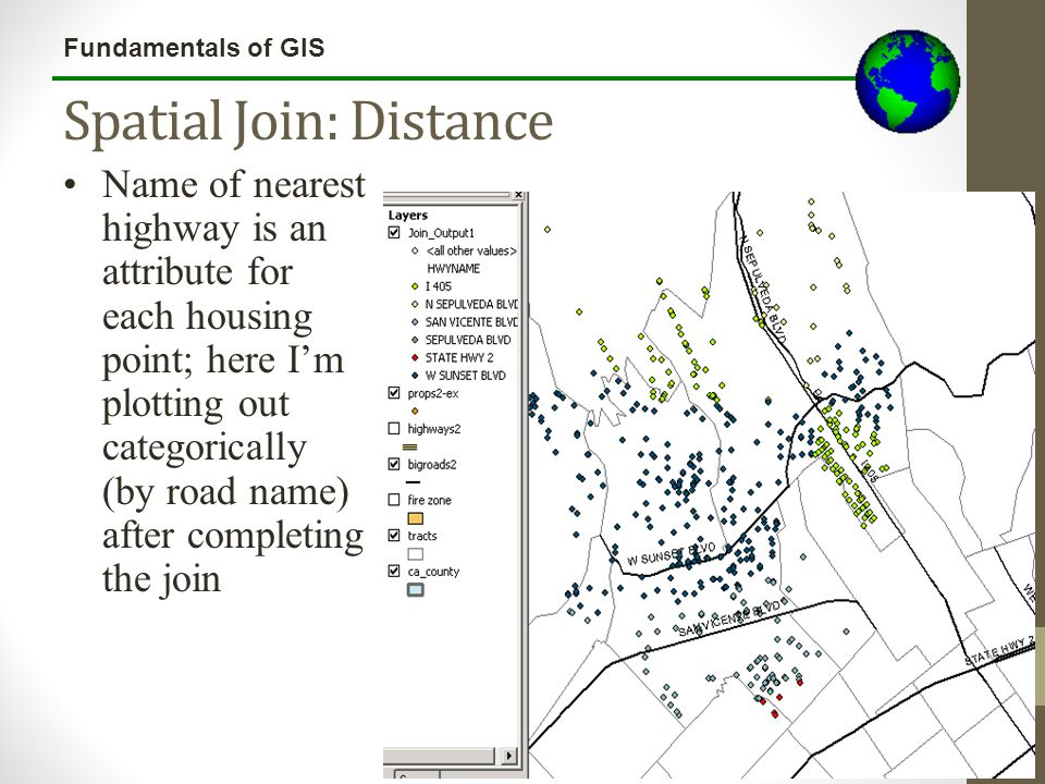 Fundamentals of GIS Spatial Join: Distance All lecture materials by Austin Troy © 2010except where noted Name of nearest highway is an attribute for e